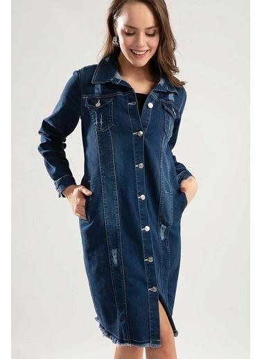 Pattaya Pattaya Kadın Uzun Kot Ceket Y20S110-0646 Mavi